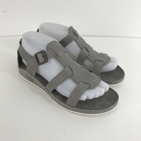 e54f7e768391 Chaco Shoes - Chaco Aubrey Alloy Gray Leather Ankle Strap Sandal